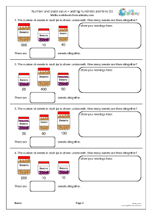Preview of worksheet Adding hundreds and tens (1)
