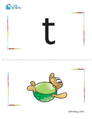 Preview of worksheet t-turtle flashcard