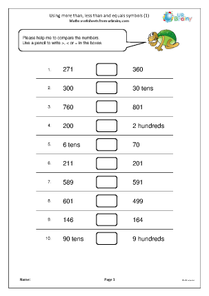 Preview of worksheet Using more than, less than, equals (1)