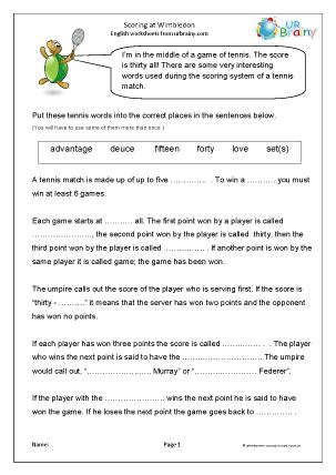 Preview of worksheet Scoring at Wimbledon