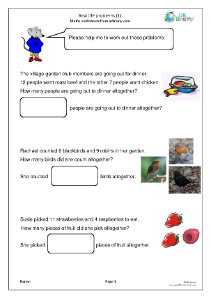 Preview of worksheet Real life: addition problems (1)