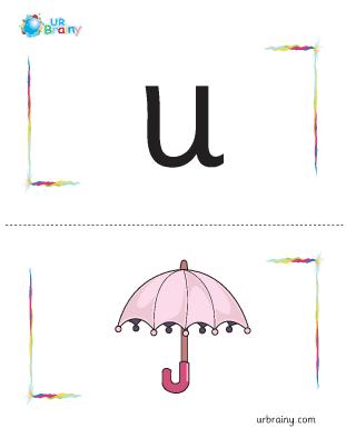 Preview of worksheet u-umbrella flashcard