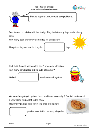 Preview of worksheet Real life: addition problems (2)