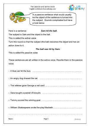 Preview of worksheet Passive and active voice