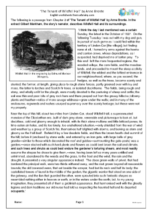 Preview of worksheet The Tenant of Wildfell Hall by Anne Bronte