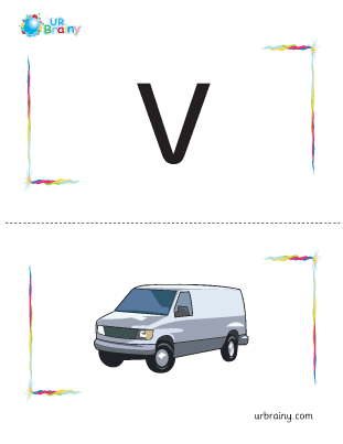 Preview of worksheet v-van flashcard