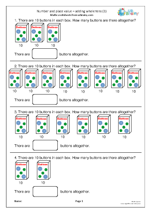 Preview of worksheet Number and place value: adding tens (1)
