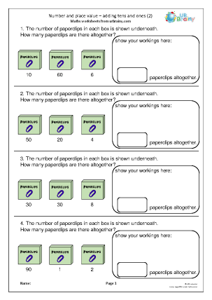 Preview of worksheet Number and place value: adding tens and ones (2)