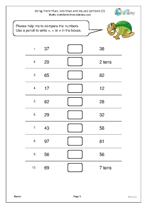 Preview of worksheet Using more than, less than and equals symbols (1)