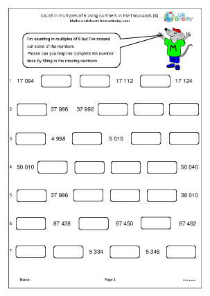 Preview of worksheet Count in multiples of 6 (4)