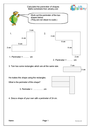Preview of worksheet Calculate the perimeter of shapes