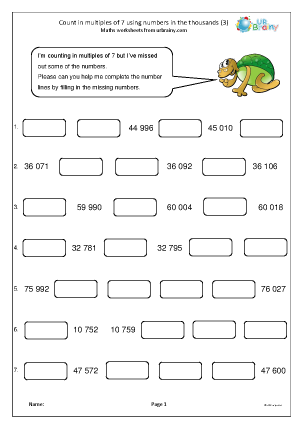 Preview of worksheet Count in multiples of 7 (3)
