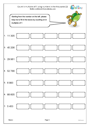 Preview of worksheet Count in multiples of 7 (2)