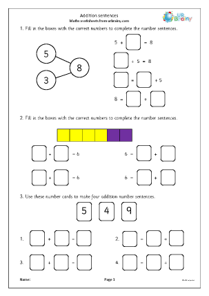 Preview of worksheet Addition Sentences