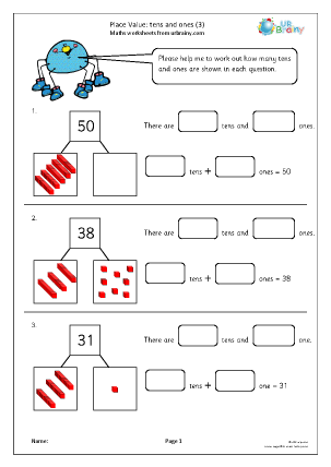 Preview of worksheet Place value: tens and ones (3)