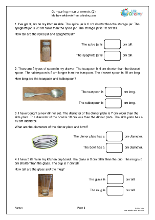 Preview of worksheet Comparing measurements (2)