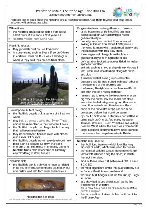 Preview of worksheet Neolithic Britain factsheet