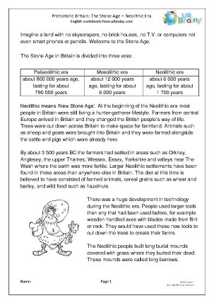 Preview of worksheet Neolithic Britain comprehension