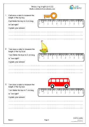 Preview of worksheet Measuring length using cm (1)