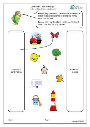 Preview of worksheet Centimetres and metres (1)