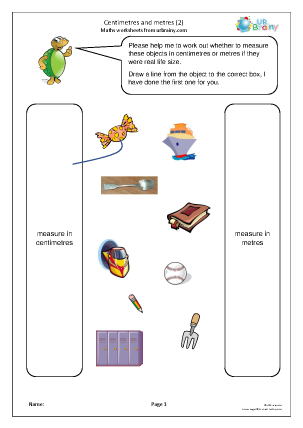 Preview of worksheet Centimetres and metres (2)