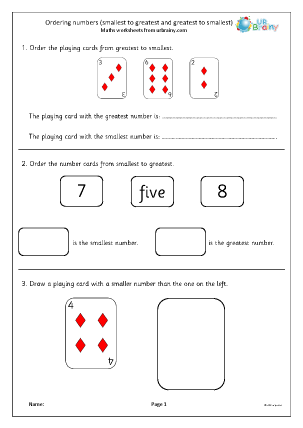 Preview of worksheet Ordering numbers using greatest and smallest