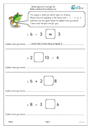 Preview of worksheet What signs are missing? (1)
