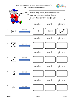 Preview of worksheet One less than with pictures, numbers and words (1)