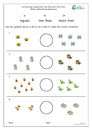 Comparing using equals less than and more than