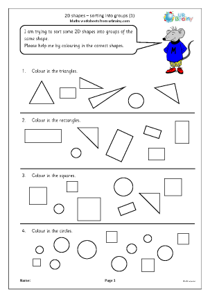 Preview of worksheet 2D shapes: sorting into groups (1)