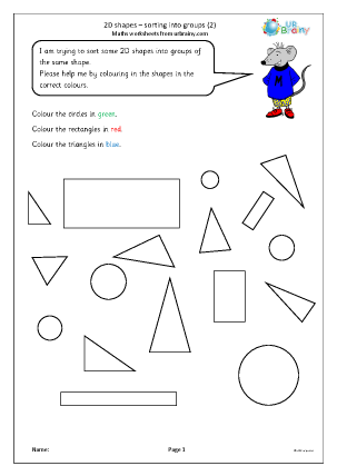 Preview of worksheet 2D shapes: sorting into groups (2)