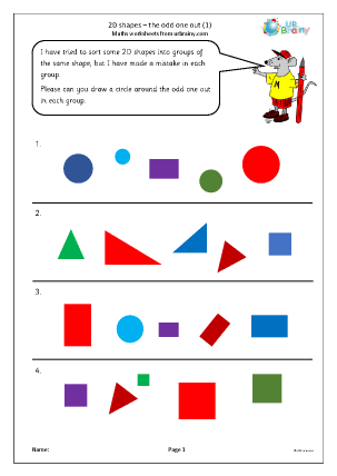 Preview of worksheet 2D shapes: the odd one out (1)