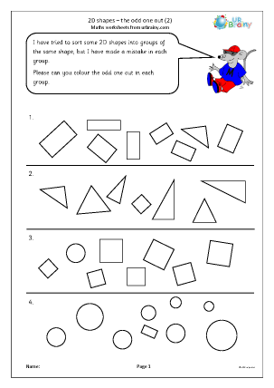 Preview of worksheet 2D shapes: the odd one out (2)