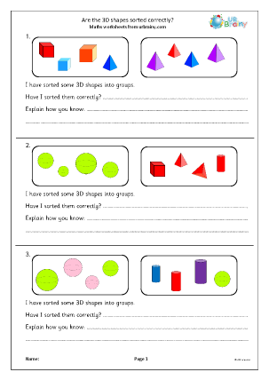 Preview of worksheet Are the 3D shapes sorted correctly?