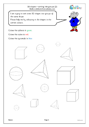 Preview of worksheet 3D shape: sorting into groups (2)