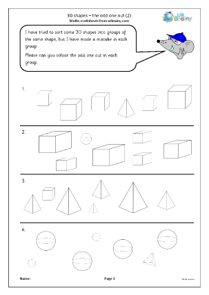 Preview of worksheet 3D shape: the odd one out (2)