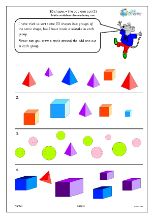 Preview of worksheet 3D shape: the odd one out (1)