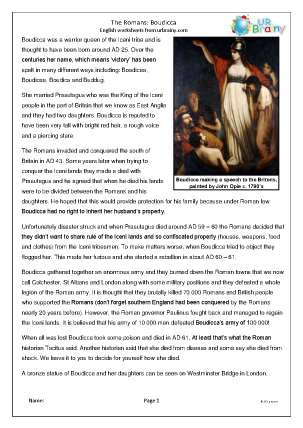 Preview of worksheet The Romans: Boudicca