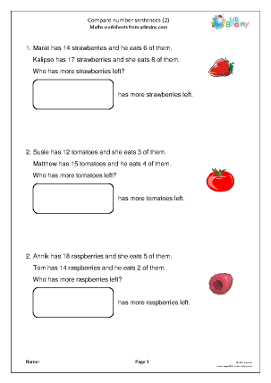 Preview of worksheet Compare number sentences (subtraction)