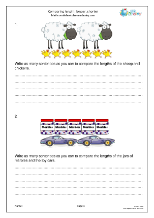 Preview of worksheet Comparing length: longer and shorter