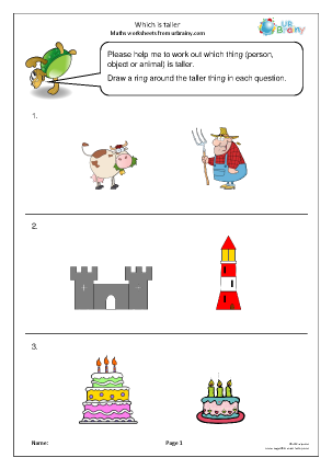 Preview of worksheet Comparing: which is taller?
