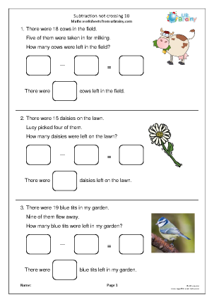 Preview of worksheet Subtraction: not crossing 10