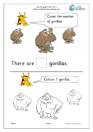 Preview of worksheet Counting gorillas: 1 to 5