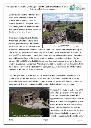 Preview of worksheet Skara Brae Comprehension