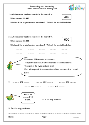 Preview of worksheet Reasoning about rounding