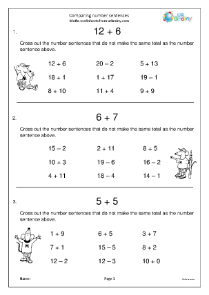 Preview of worksheet Comparing number sentences