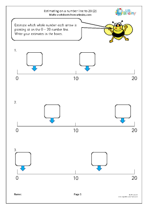 Preview of worksheet Estimating on a number line to 20 (2)