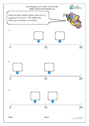 Preview of worksheet Estimating on a number line to 20 (3)