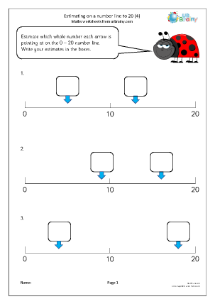 Preview of worksheet Estimating on a number line to 20 (4)