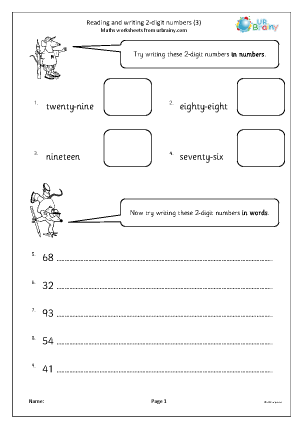 Preview of worksheet Read and write 2-digit numbers (3)